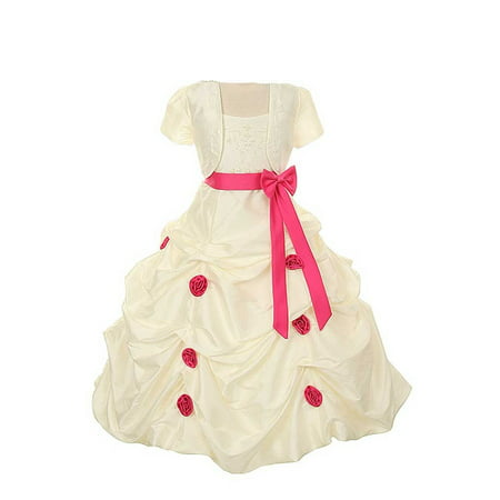 Rain Kids Girls 4 Ivory Fuchsia Pickup Pageant Flower Girl Dress