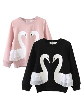 Children Kids Baby Girls Swan Animal Cotton Long Sleeve O-Neck Pullover Toddler Hoodies Clothes