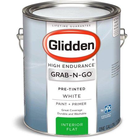 Glidden High Endurance Grab N Go Interior Paint And Primer Flat Finish White 1 Gallon