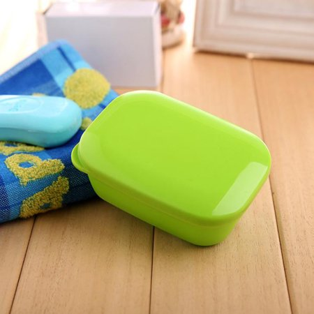 Portable Rectangle Soap Box with Drain Layer & Lid Stylish Soap Dish for Travel - Draining Soap Dish