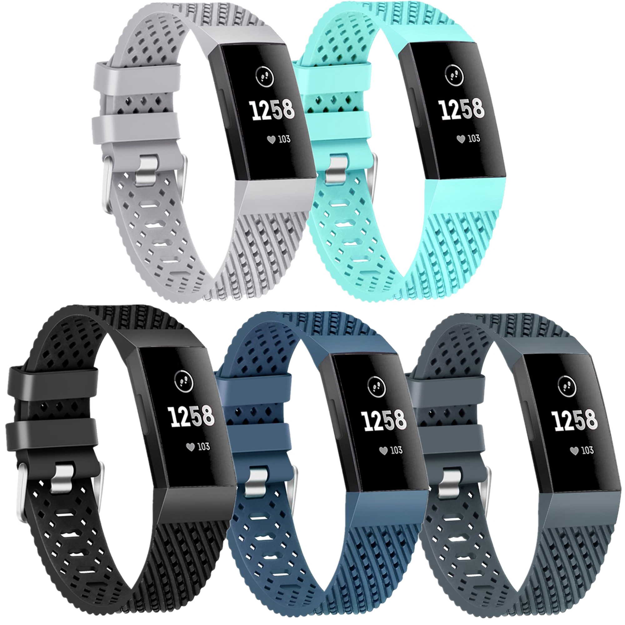 Moretek 5PCS Charge 3 Replacement Wrist Band Multi-Color Women Men Bands Accessories for Fitbit Charge 3 Large