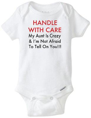 Crazy Aunt Baby Grow//Bodysuit//Romper//T-Shirt /& Feeding Bib 0-24m Girl Boy Funny