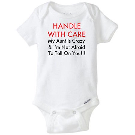 Handle With Care Crazy Aunt Funny Novelty Baby Onesie Boy Girl Clothes Bodysuit (6 Months)