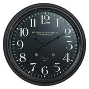 Norton 24.5 in. Aged Black Oversized Tin & Glass Wall Clock
