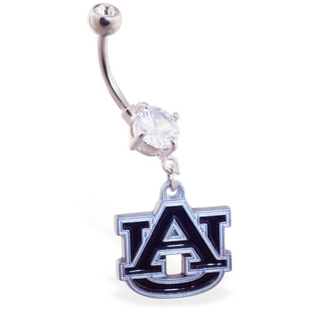 Mspiercing Belly Ring With Official Licensed NCAA Charm, Auburn University Tigers