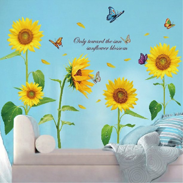 Sunflower Butterfly Wall Sticker Diy Art Removable Pvc Wall Decal Wall Decor Bedroom Living Room Kids Room Home Decor Background Walmart Com Walmart Com