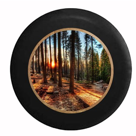 Sun Through The Tall Pines California Forest Jeep Rv Camper Spare Tire Cover Black 33 In