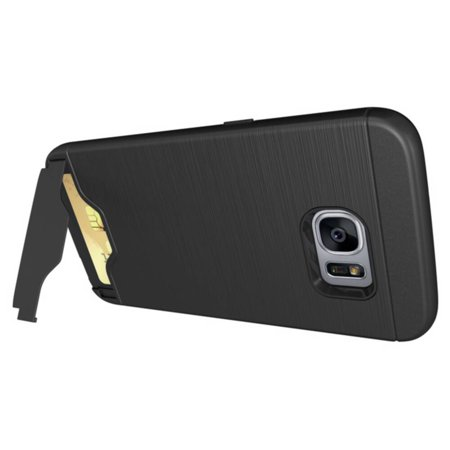 TORUBIA heavy duty dual layer protective case with card slots and flip stand suitable for Samsung Galaxy S7 Edge black - image 4 de 7