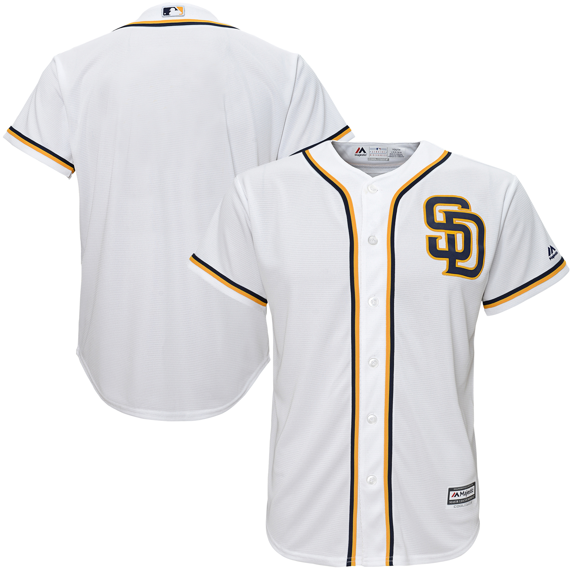 Youth Majestic White San Diego Padres Official Cool Base Jersey -
