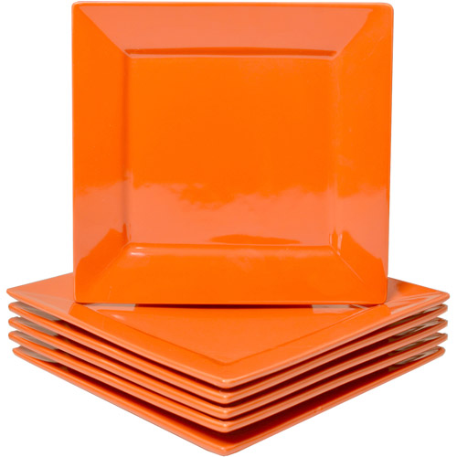 10 Strawberry Street Nova Square Dinner Plates Set of 6  sc 1 st  Walmart & Orange Dinnerware Sets - Walmart.com