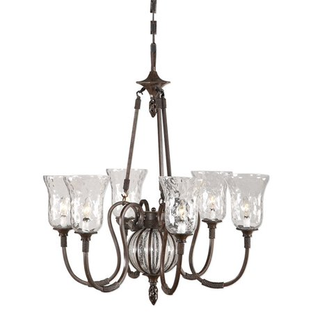 Uttermost Galeana 6 Light Iron Chandelier in Antique Saddle - image 8 of 8