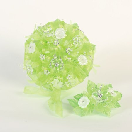 Cleopatra Headpiece Diy (Angels Garment Lime Green Beads Flowers Headpiece Round Bouquet)