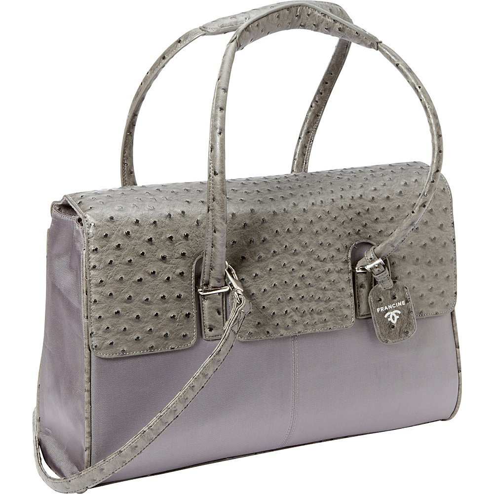 Women In Business Francine Collection - 15.6' Gray Ostrich London Laptop Case