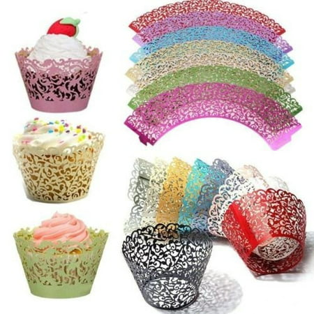 Burgundy Cupcake Wrappers (50*Pcs Cupcake Muffins Candy-filled Cup Wrappers Lace Hollow)