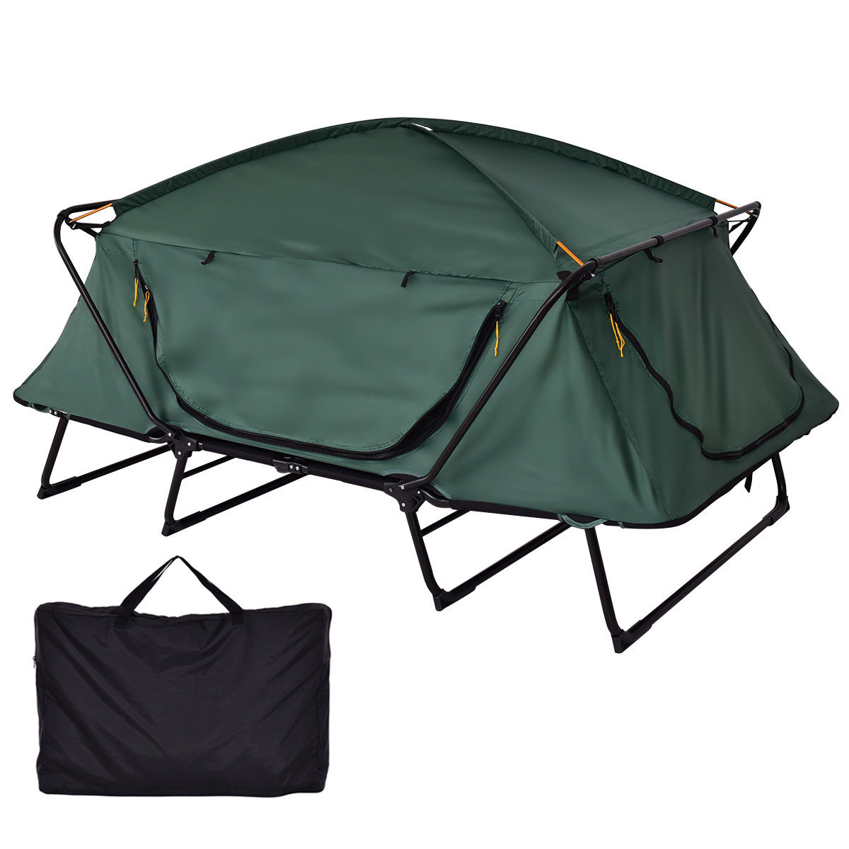 Gymax 2 Person Folding Hiking Outdoor Elevated Camping Te...