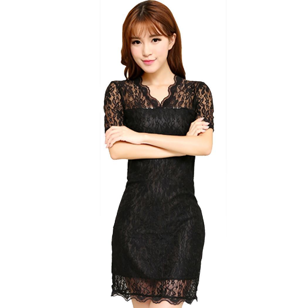 Women's Sexy V Neck Short Sleeve Lace Bodycon Party Mini Dress Caroj - image 2 of 3