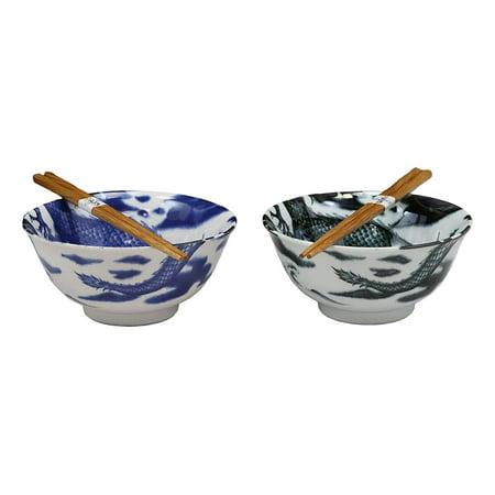 Ebros Japanese Vintage Design East Asian Chinese Dragons Blue And Black Porcelain Bowl Set of 2 With Wooden Chopsticks Kitchen Dining Dishwasher Safe For Udon Ramen Pho Wonton Soup Made In Japan China Japan Sugar Bowl