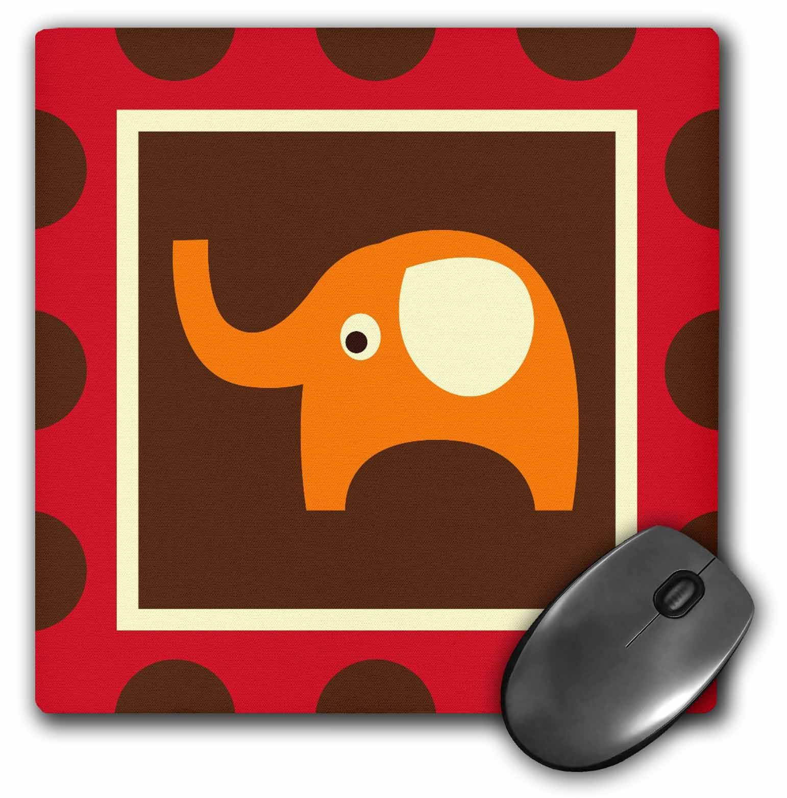 3dRose Cute Orange Elephant - Childrens Art - Adorable Animals, Mouse Pad, 8 by 8 inches