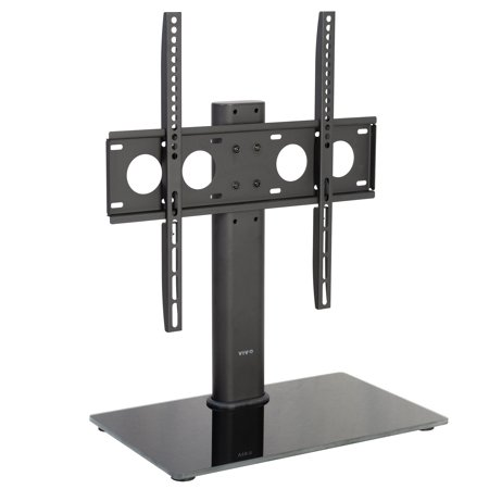 Top Mount Base - VIVO Black TV Table Top Stand w/ Glass Base | Universal VESA Mount for LCD LED Flat Screens 32