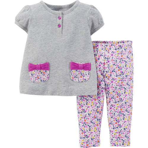 Child Of Mine by Carter's Newborn Baby Girl Top and Leggings Outfit 2-Piece Set