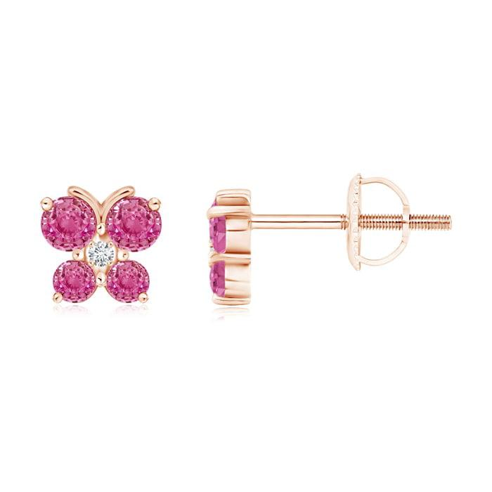 Angara Pink Sapphire Stud Earrings in 14K Rose Gold OeC0QyeZ