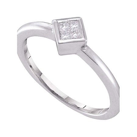 14kt White Gold Womens Princess Diamond Cluster Promise Bridal Ring 1/10 Cttw - image 1 of 1