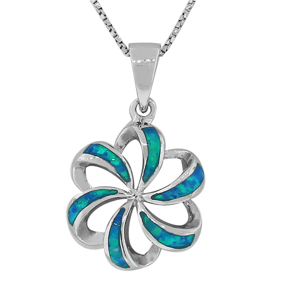925 Sterling Silver Blue Turquoise-Tone Simulated Opal Flower Pendant Necklace by My Daily Styles