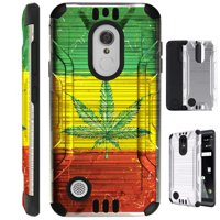 For LG Stylo 3 / LG Stylo 3 Plus LS777 Case Brushed Metal Texture Hybrid TPU Metallic Guard Phone Cover (Weed Nation Flag)