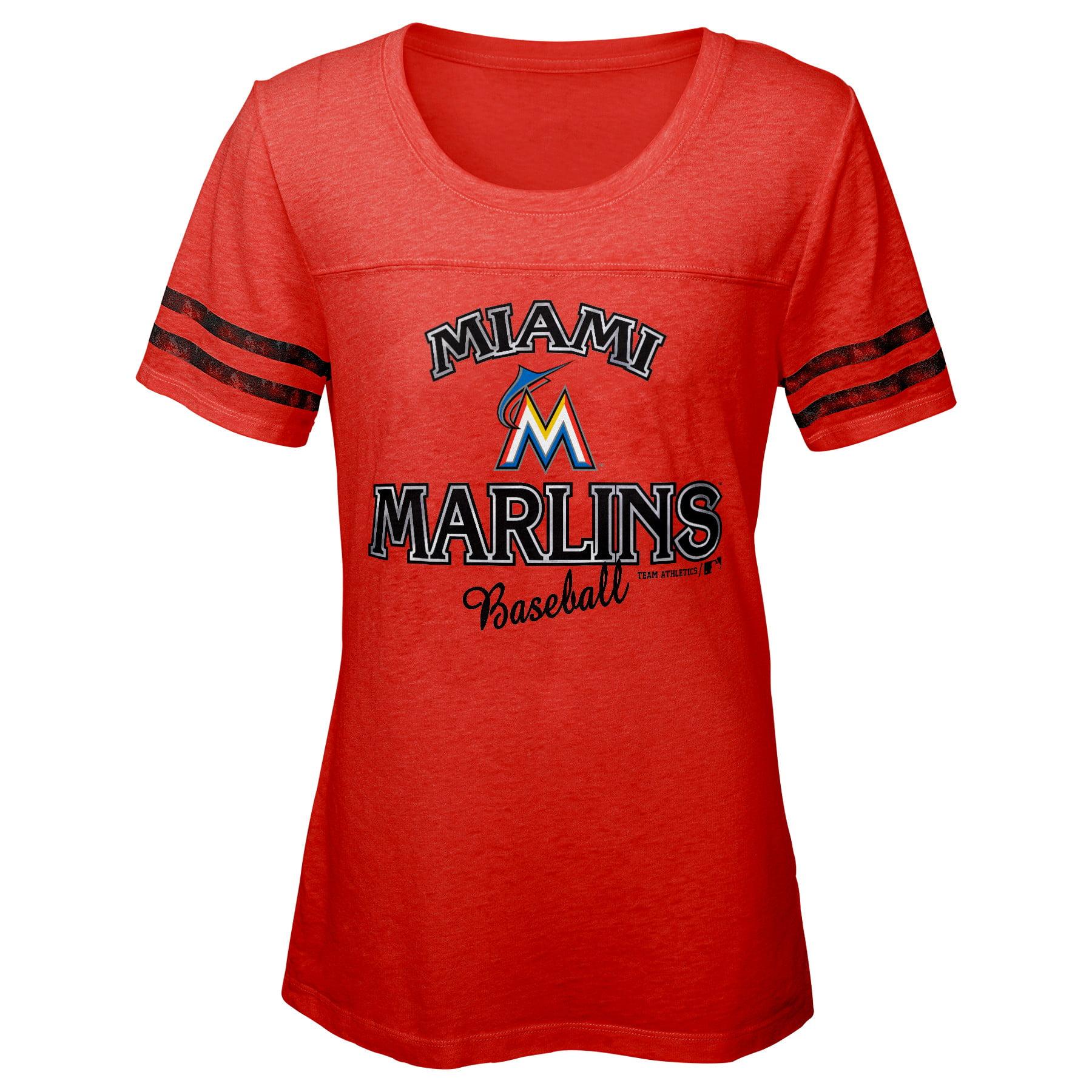 MLB Miami MARLINS TEE Short Sleeve Girls Fashion 60% Cotton 40% Polyester Alternate Team Colors 7 - 16