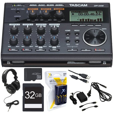 Tascam Compact Portastudio 6 Track Digital Recorder w/ Built In Microphone (DP-006) w/Bundle + 32GB SDHC High Speed Memory Card + AA Charger w/4 2950mah AA Batteries + Closed-Back Headphones +Tascam