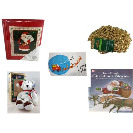 Christmas Fun Gift Bundle [5 Piece] - Lego Merry  20 Page Photo Album - Gold Bead Garland Strand 18' Feet - Santa's Pillowcase Sham And To All A Goodnight! - Limited Treasures  Edition White Holly B
