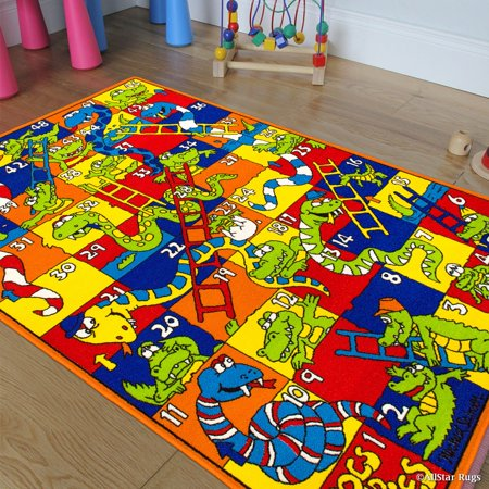 Allstar Kids / Baby Room Area Rug. Snakes and Crocodiles with Numbers. Playful and Vibrant Colors (3' 3