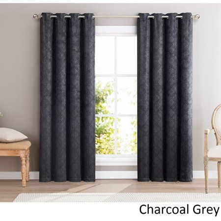 ME Redmont Lattice Blackout Grommet Curtain Panel Charcoal Grey 96 Inches