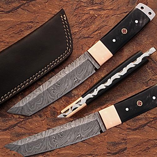 Custom Made Damascus Steel Tanto Point Hunting Knife Buffalo Horn by