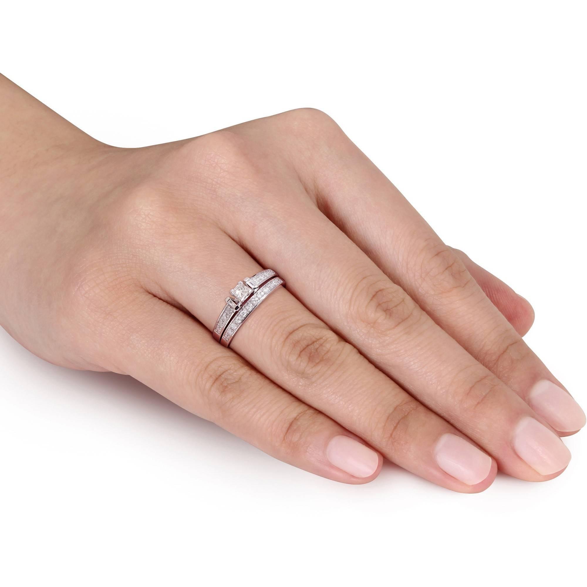 Miabella 1 3 Carat T W Princess Baguette and Round Cut Diamond