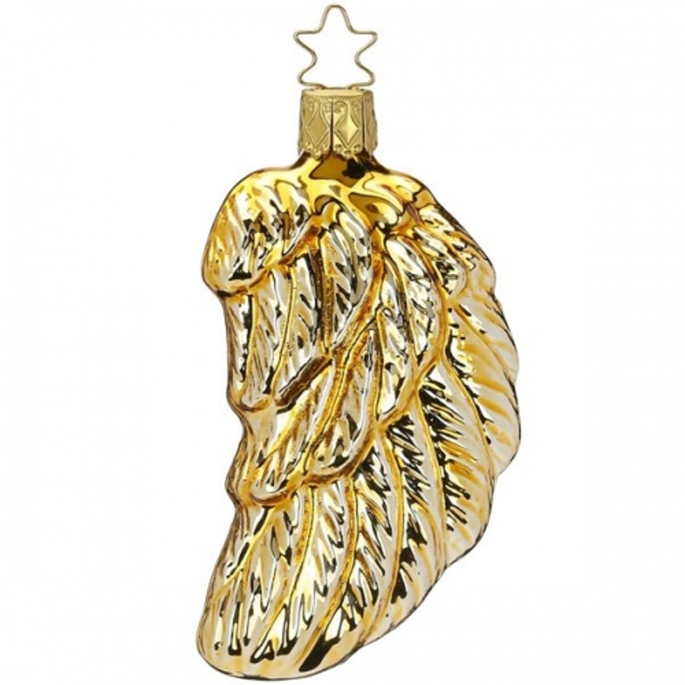 Inge Glas Gold Shiny Angel Wings German Glass Christmas Tree Ornament FREE BOX