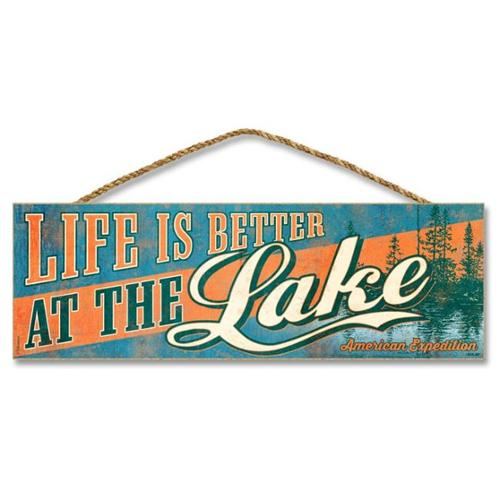 Ideaman S515-007 5 x 15 inch Wooden Sign, Life Is Better At The Lake