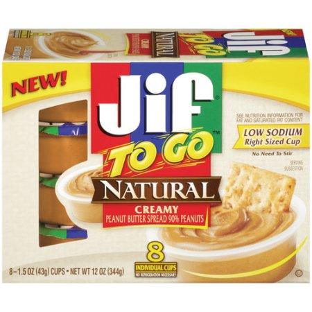JIF Natural Creamy Peanut Butter To Go, 8 ct