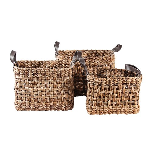 Ibolili 3 Piece Banana Leaf Checker Weave Basket Set