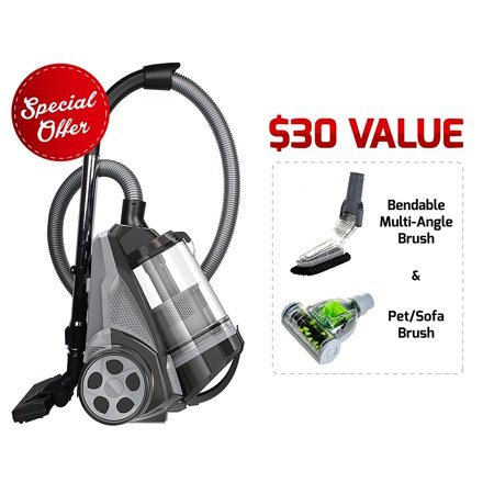 Ovente Cyclonic Bagless Canister Vacuum with Hepa Filter, Multi-Angle Brush and Sofa/Pet Brush, Black