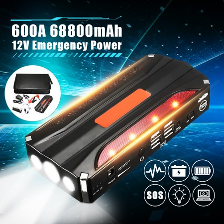 68800mAh 12V Car Jump Starter Power Bank Rechargable Battery 4USB