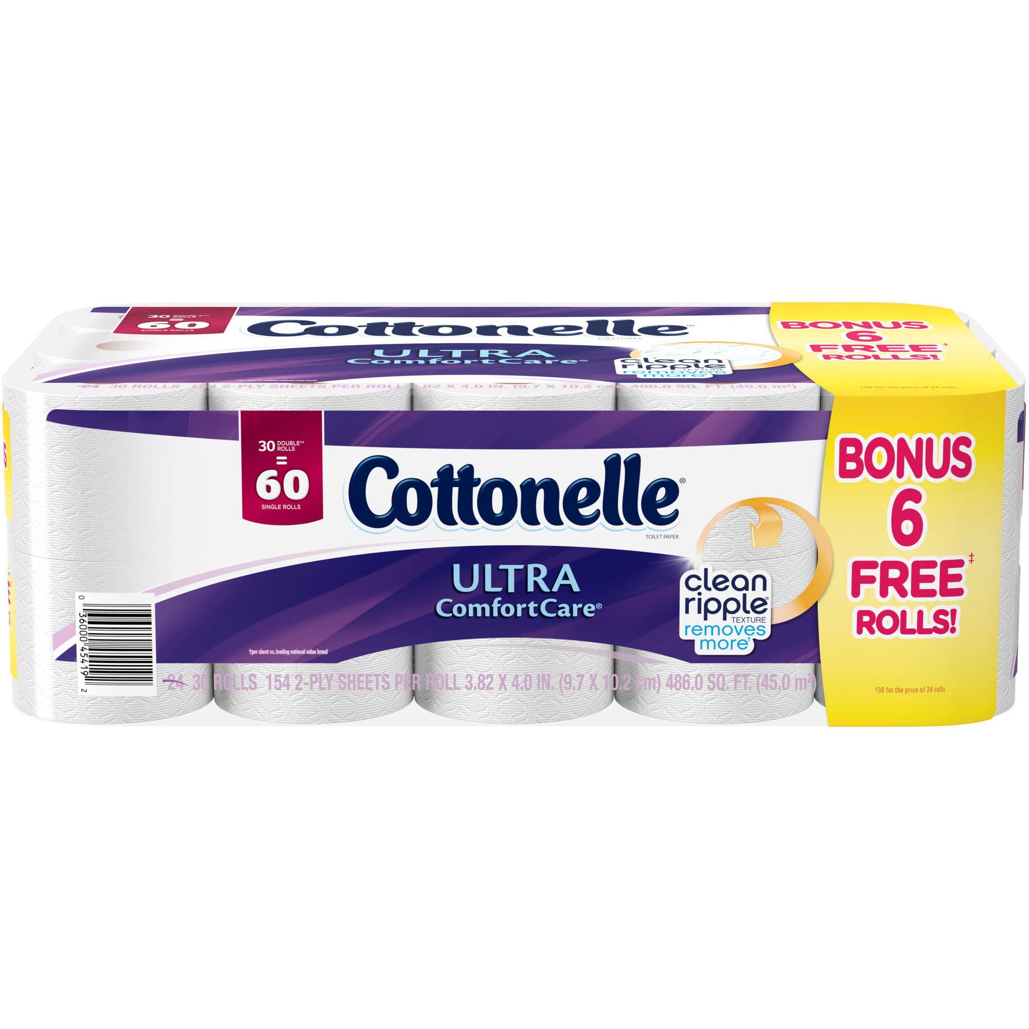 Cottonelle Ultra Comfort Care Bonus Roll Double Roll Toilet Paper, 154 sheets, 30 rolls