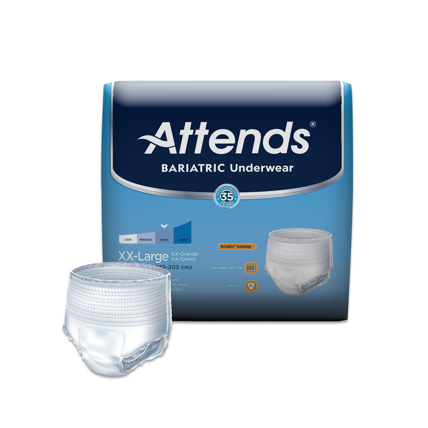 Attends Bariatric Protective Underwear with DermaDry™ Technology for Adult Incontinence Care, Unisex (Choose Your Size)