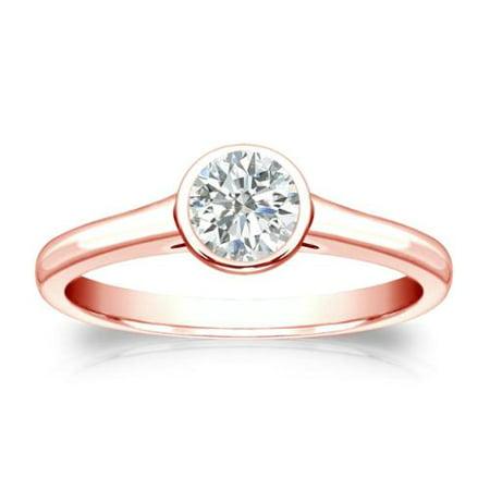 Auriya  14K Gold 1 3Ct Tdw Round Cut Diamond Solitaire Bezel Engagement Ring