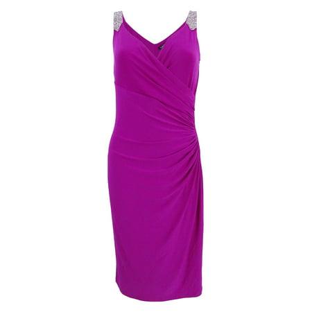 aace29ca Lauren By Ralph Lauren - Lauren Ralph Lauren Women's Embellished Straps  Jersey Sheath Dress (8, Rose) - Walmart.com
