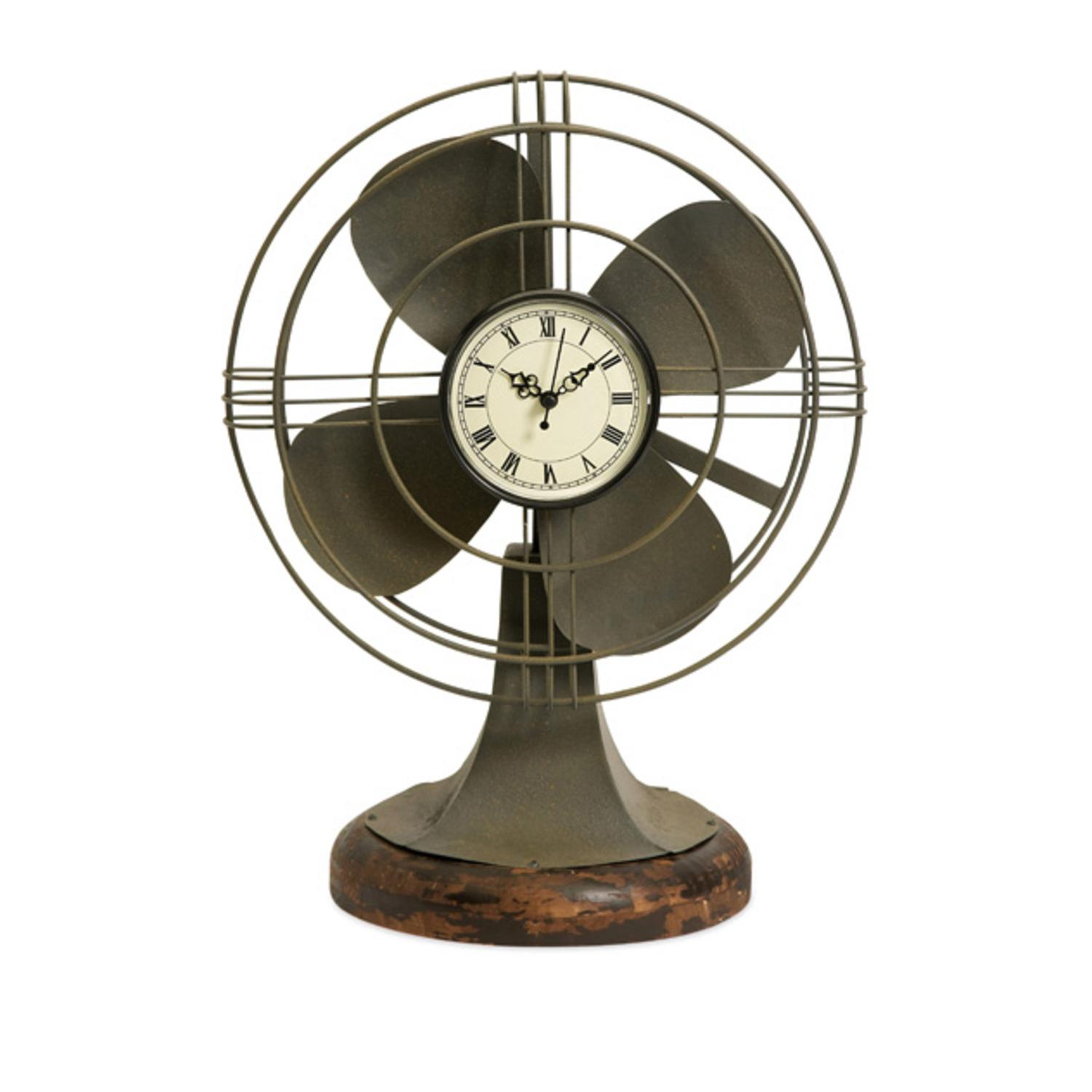 "17.5"" Decorative Retro-Style Table Fan with Clock Face and Wood Base"