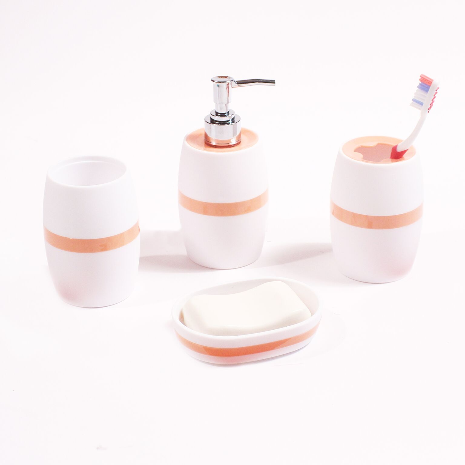 Mainstays Panel Stripe 4 Piece Bath Accessory Set, Multiple Colors by Sam Hedaya