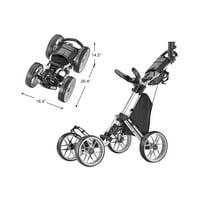 Caddytek CaddyCruiser ONE V8 Golf Push Cart, Silver