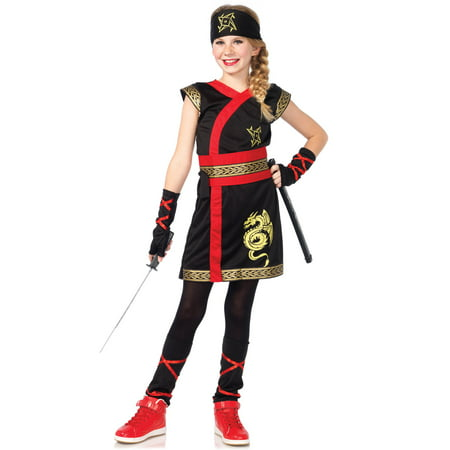 5PC. Girls' Ninja Warrior w/ Dress, Belt, gloves, Leg Warmers, headband - Girl Ninja Warrior