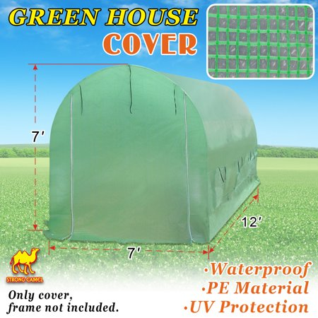 Strong Camel New Hot Green House 12'X7'X7' Larger Walk In Outdoor Plant Gardening Greenhouse Cover (Frame Does Not Included)
